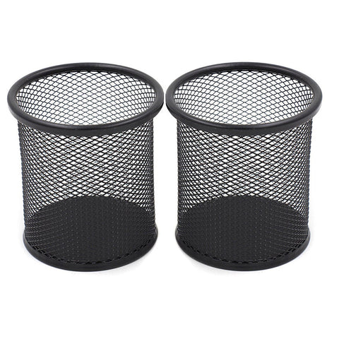 2pcs 3.5 inch Round Mesh Steel Pencil Holder