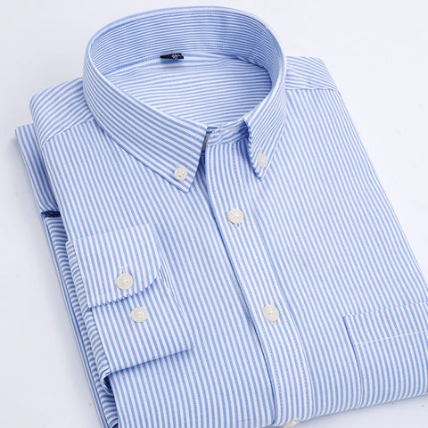 Business Cotton Oxford Shirt Male Long Sleeve Striped