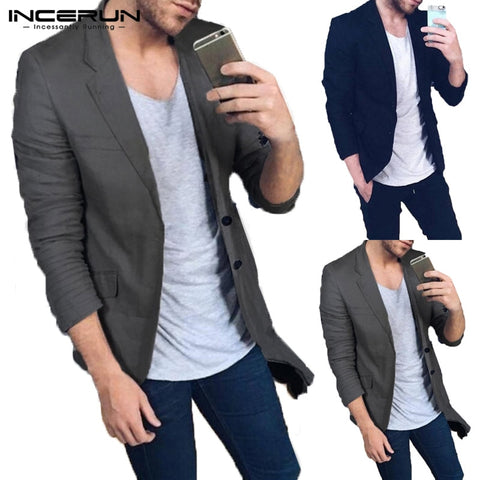 Men Blazer Casual Business Fashion Jacket Classic L-5XL