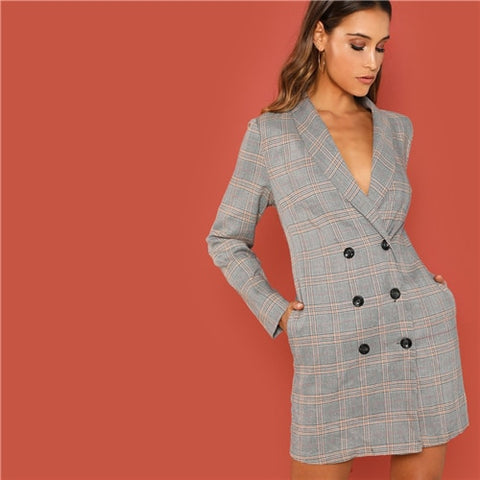Grey Elegant Office Shawl Collar Double Breasted Plaid  Long Sleeve Coat