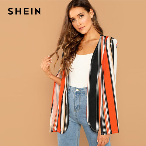 Multicolored Open Front Striped Cape Cloak Sleeve Coat