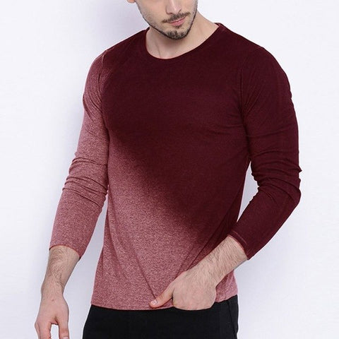Chic Mens T Shirt Long Sleeve Tee Shirts Gradient Tie Dye Autumn Tee Tops Harajuku Muscle Tee Crossfit Hombre Tshirt Hiphop