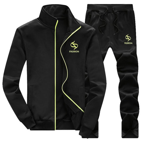 Men's Autumn Winter Thicken Sweatshirt Top Pants Sets Sports Suit Tracksuit