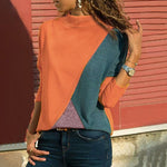 Women Casual Splicing Color Collision Long Sleeves Plus Size Easy Tops Blouse