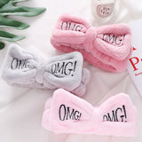 "Letter""OMG"" Coral Fleece Soft Bow Headbands For Women Girls  Hair Holder Hairbands"