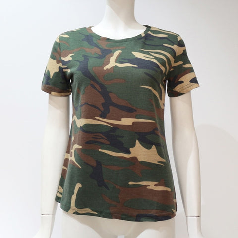 Women Camouflage T Shirt Summer Short Sleeve T-Shirt Girls Casual Tops Tees Slim O-neck Female