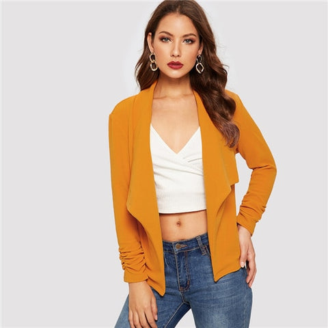 Yellow Elegant Solid Waterfall Collar Blazer women's Coat