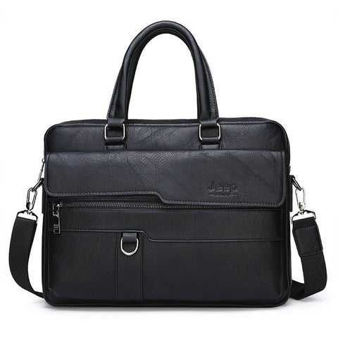 JEEP Briefcase High Quality Business Leather Shoulder 13.3 inch Laptop