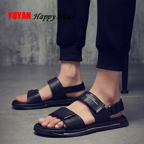 Genuine Leather Men Sandals 2019 Summer Beach Sandals