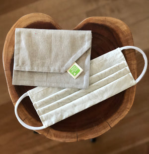 Cream Coloured Cloth Face Mask with Carrying Pouch