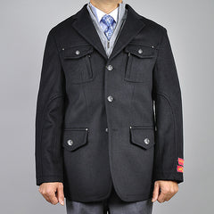 Mantoni Men's Black Wool/ Cashmere 3-Button Jacket