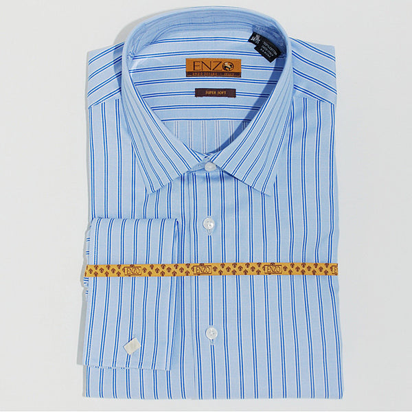 Enzo Tovare Men's Blue Striped French Cuff Dress Shirt