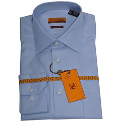 Enzo Tovare Men's Blue Twill Dress Shirt