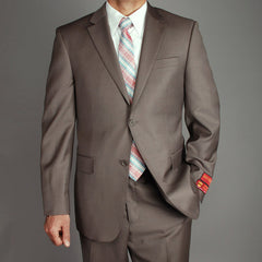 Mantoni Men's Textured Taupe Wool 2-Button Suit