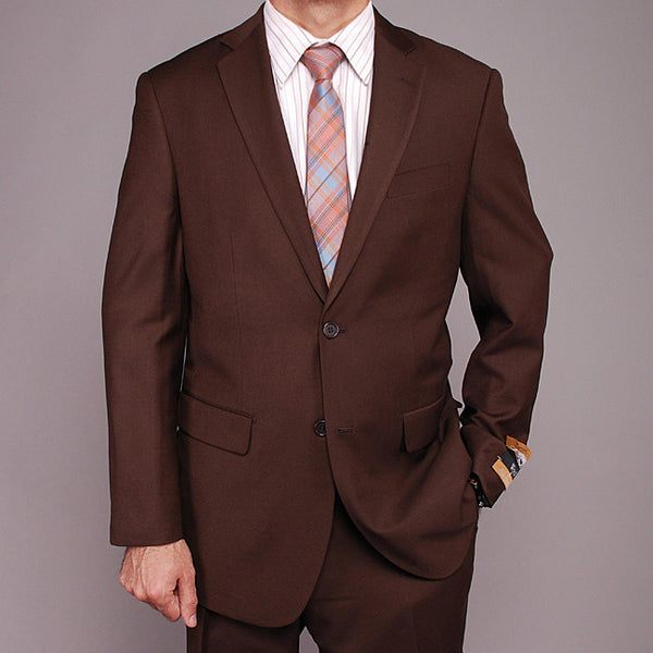 Bertolini Men's Brown Wool and Silk Blend 2-Button Suit