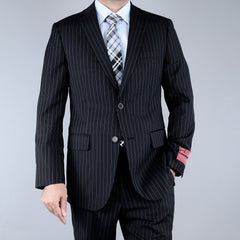 Mantoni Men's Black Striped Wool 2-Button Suit