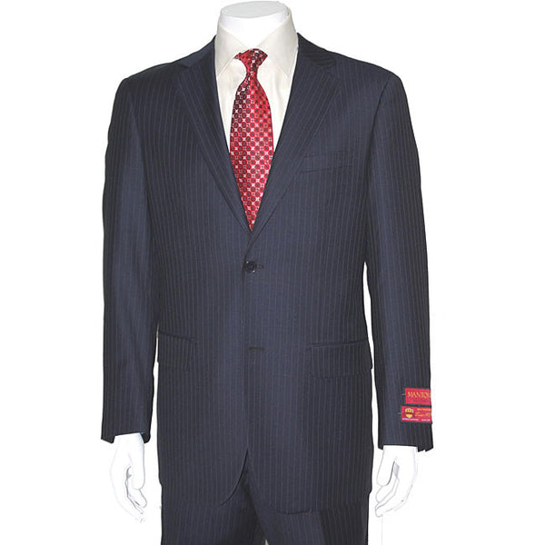 Mantoni Men's Striped Navy Wool 2-Button Suit
