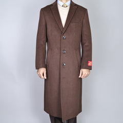 Mantoni Men's Brown Wool and Cashmere Topcoat