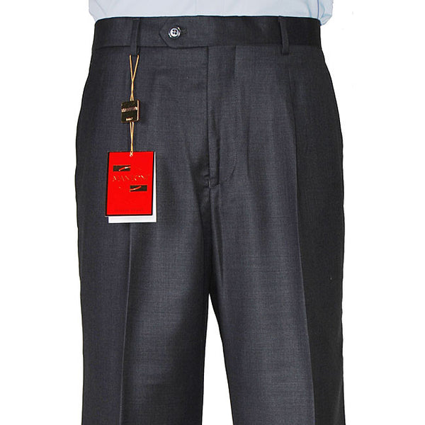 Mantoni Men's Charcoal Gray Single Pleat Wool Pants