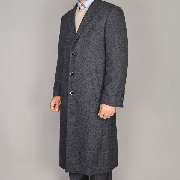 Mantoni Men's Charcoal Gray Wool and Cashmere Coat
