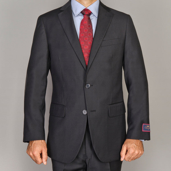 Carlo Lusso Men's Solid Black 2-Button Suit