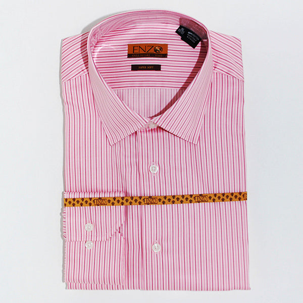 Enzo Tovare Men's Pink Striped Dress Shirt