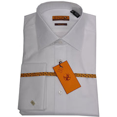 Enzo Tovare Men's White French Cuff Dress Shirt
