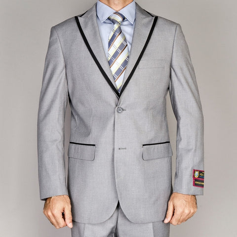 Giorgio Fiorelli Men's Grey Modern Lapel Suit  ALL SIZES SOLD OUT