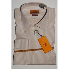 Enzo Tovare Men's Beige Tonal Striped Classic Cuff Dress Shirt