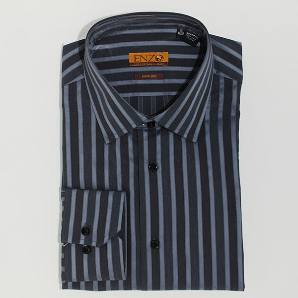 Enzo Tovare Men's Gray Striped Cotton Dress Shirt