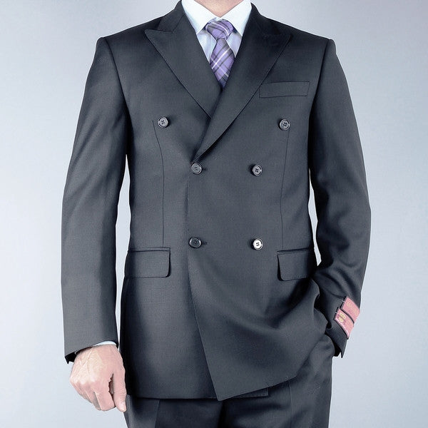 Mantoni Men's Classic Fit Black Double Breasted Wool Suit