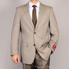 Mantoni Men's Taupe Nailhead 2-button Wool Sport Coat
