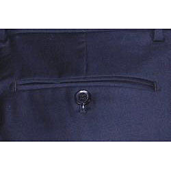 Mantoni Men's Navy Blue Flat Front Wool Pants
