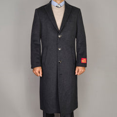 Mantoni Men's Black Wool and Cashmere Top Coat