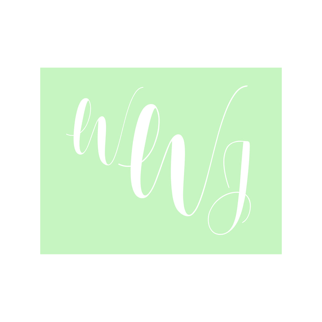 Monogram Stationery- Lime Green