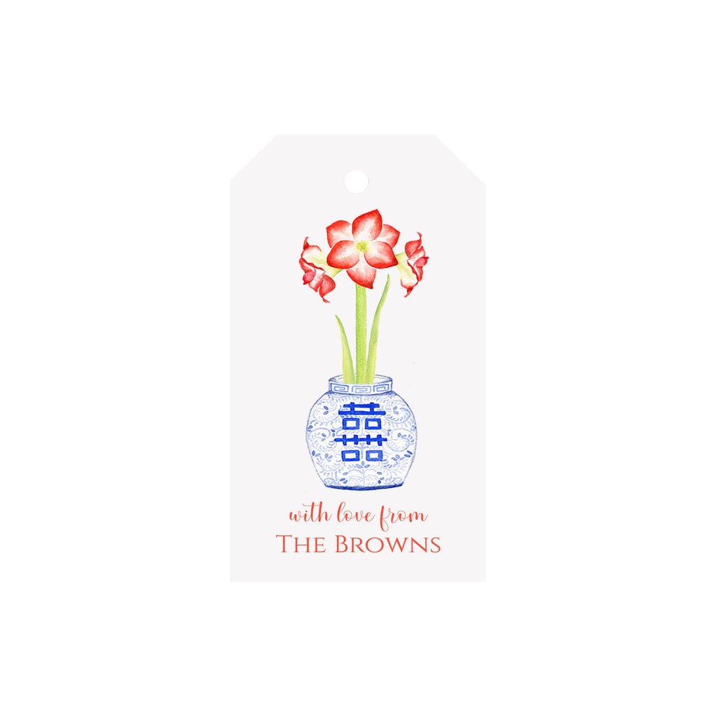Amaryllis Ginger Jar Personalized Luggage Gift Tags