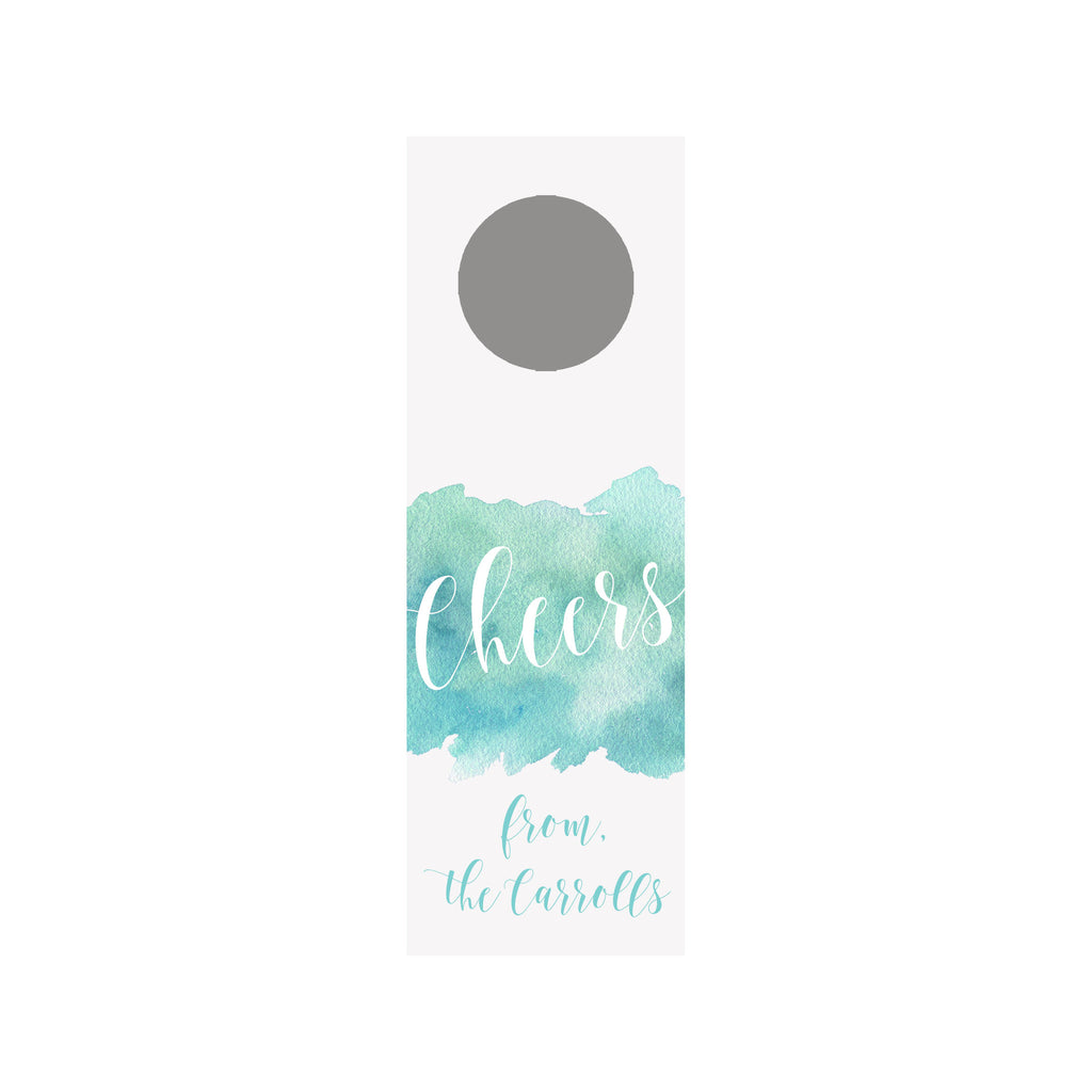 Watercolor Splash Wine Tag - Aqua