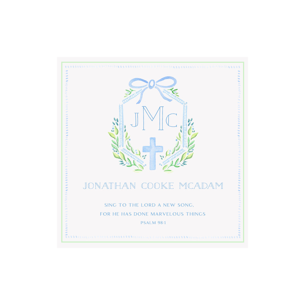 Framed Baby Keepsake Monogram & Verse Print- Blue