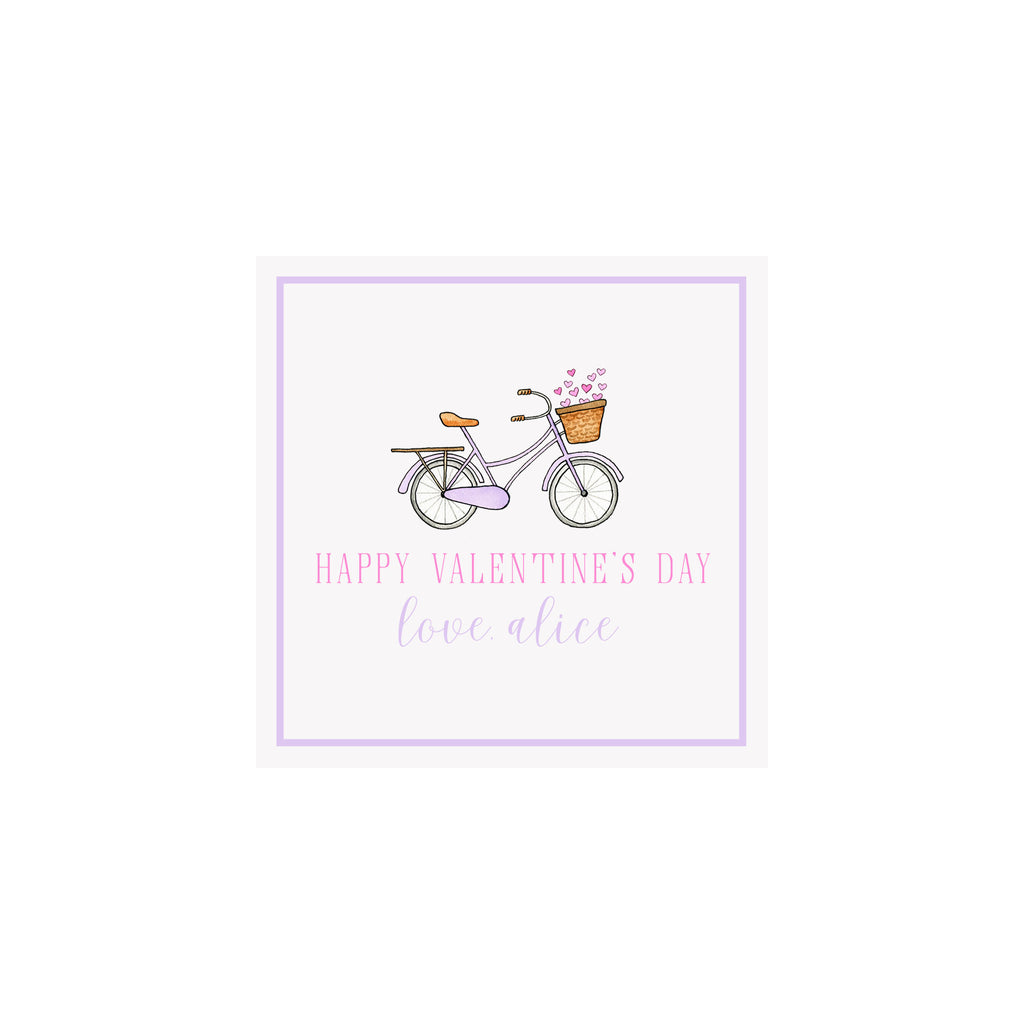 Bicycle of Hearts Valentine Gift Tags & Stickers