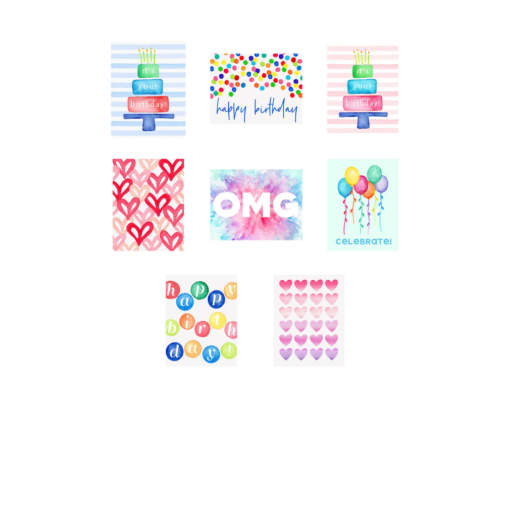 Birthday Bash- Assorted Foldover Greeting Cards
