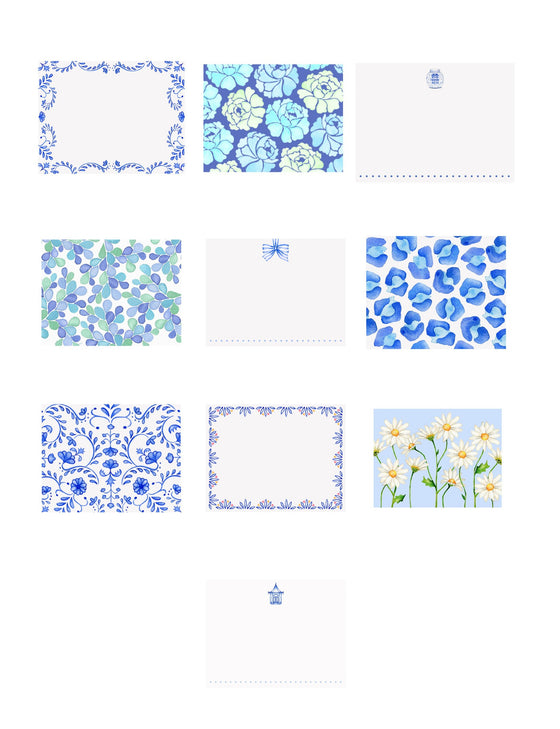 Blue Crush- Assorted Blue & White Note Cards