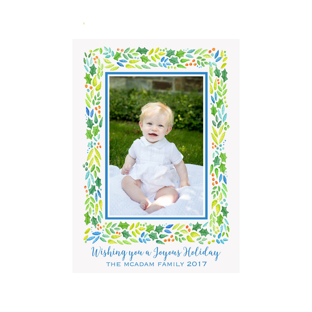 Blue Garland Holiday Photo Cards
