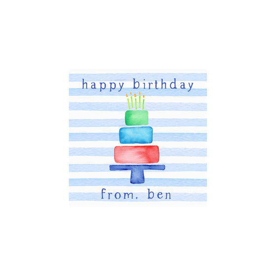 Cake Stripes Gift Tags & Stickers- Blue