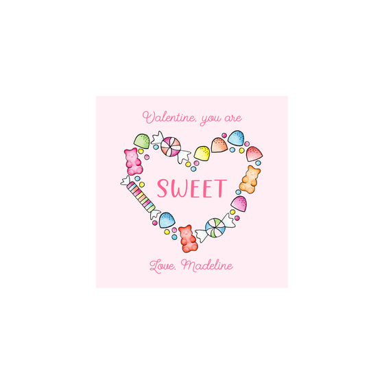 Candy Heart Valentine Gift Tags & Stickers