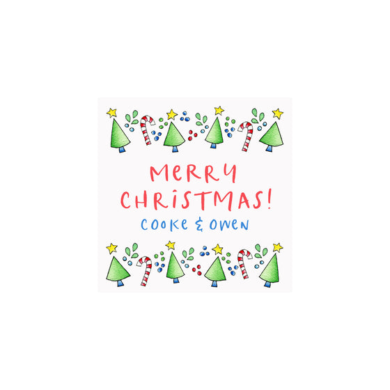 Candy Canes Christmas Trees Personalized Gift Tags & Stickers