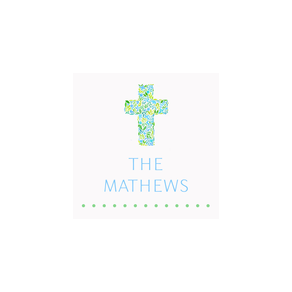 Cross Gift Tags & Stickers- Blue/Green