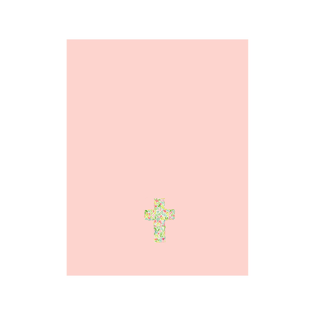 Floral Cross Card- Pink