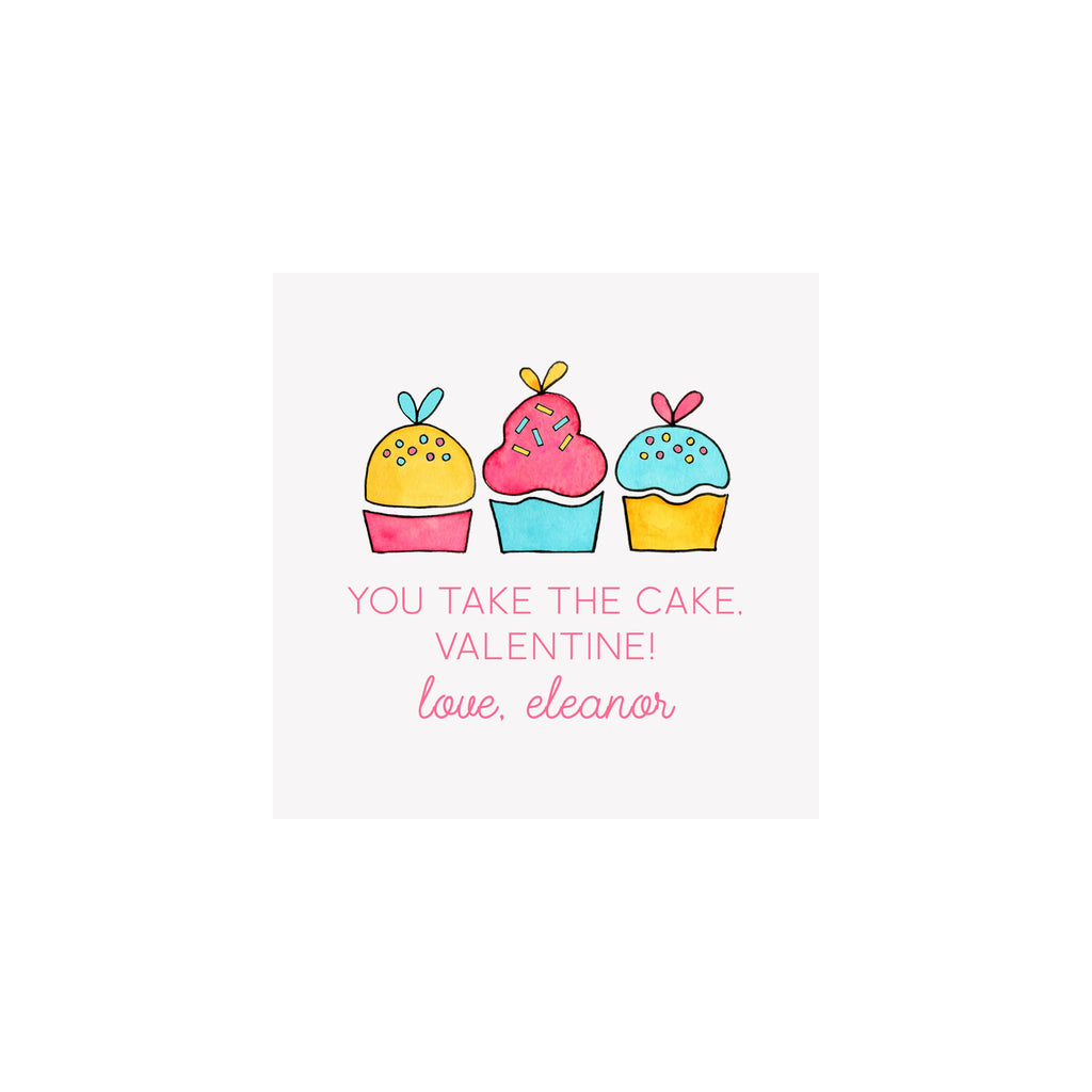 Cupcakes Hearts Gift Tags & Stickers