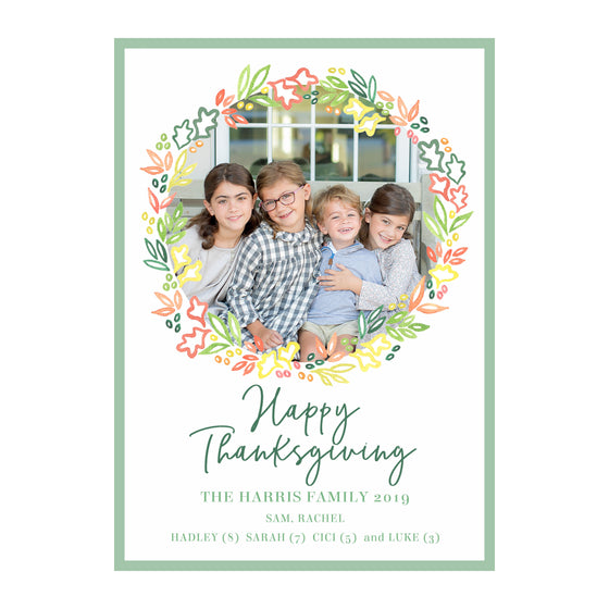 Fall Garland Holiday Photo Cards