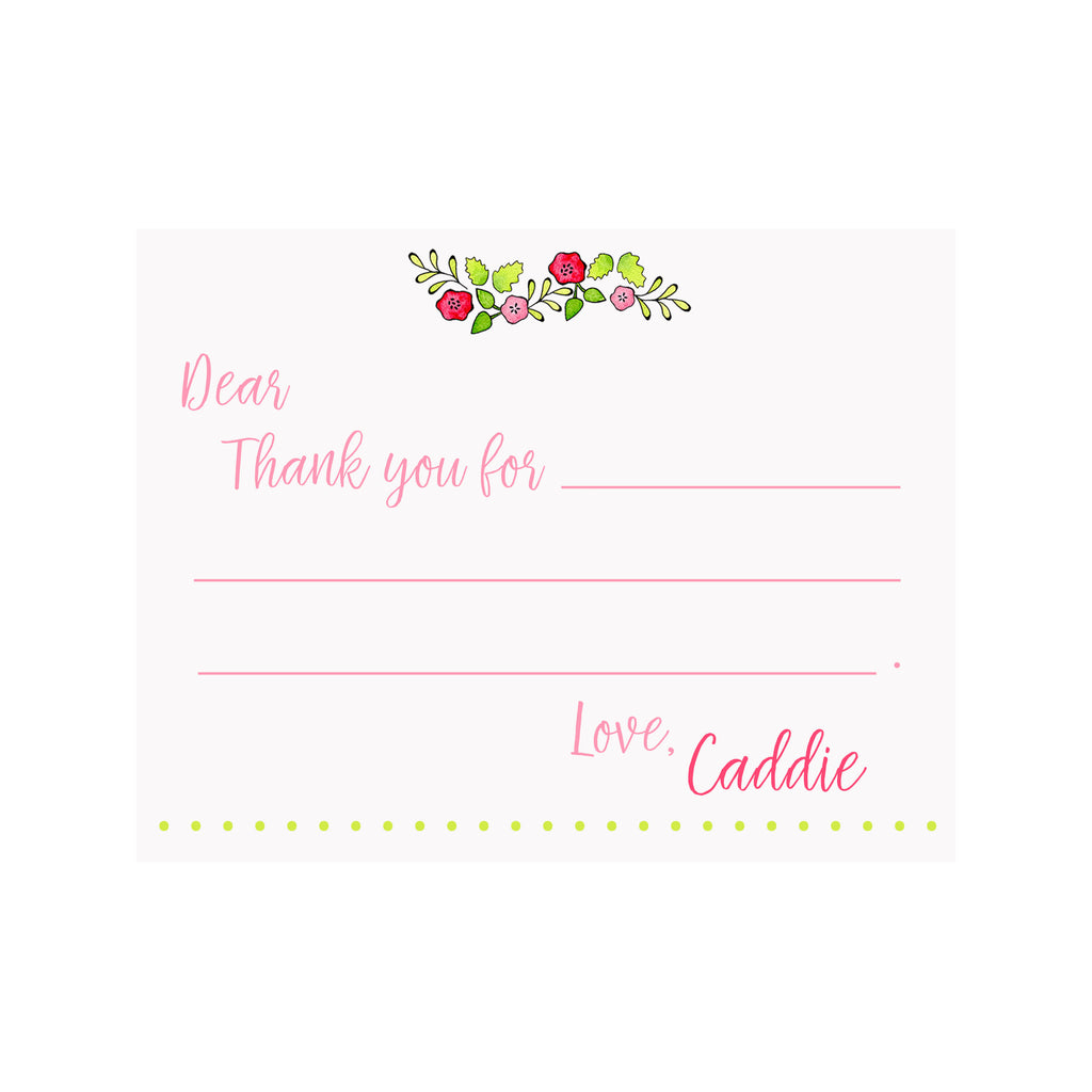 Fill-In Thank You Note Stationery